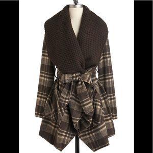 Brown Plaid Wrap 🧥 Jacket NWOT